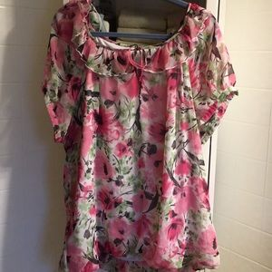 Pretty floral chiffon blouse with tie at neck